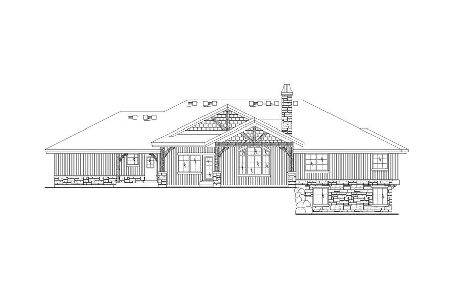 Home Plan Rear Elevation of this 5-Bedroom,2581 Sq Ft Plan -135-1045
