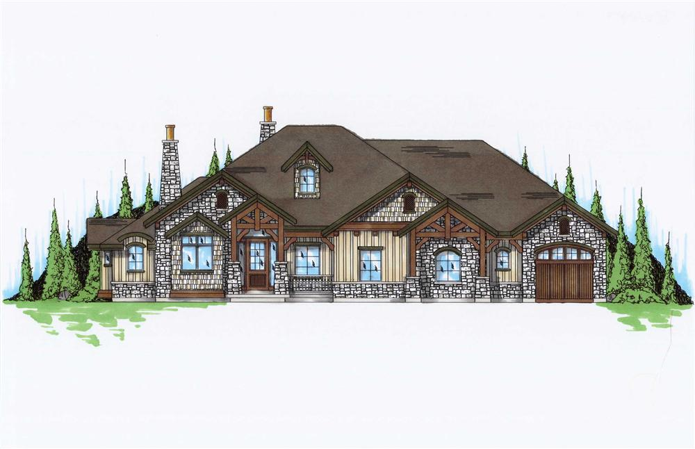 Front elevation of rustic Craftsman home (ThePlanCollection: House Plan #135-1054)