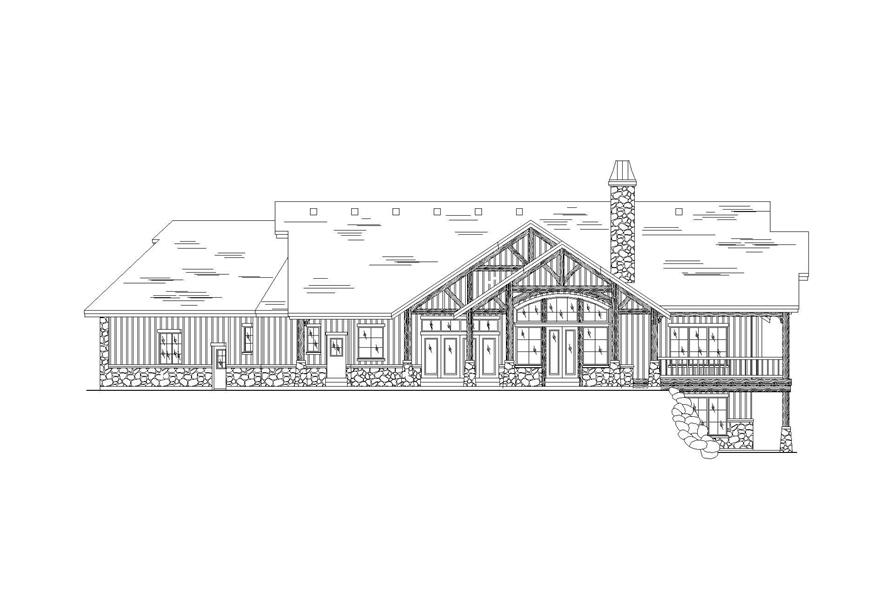 Home Plan Rear Elevation of this 3-Bedroom,2600 Sq Ft Plan -135-1055
