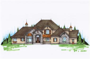 7-Bedroom, 4240 Sq Ft Luxury House Plan - 135-1061 - Front Exterior
