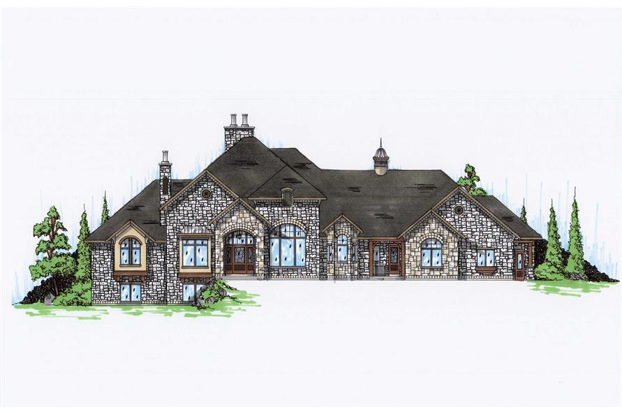 5-Bedroom, 4371 Sq Ft European Home Plan - 135-1063 - Main Exterior