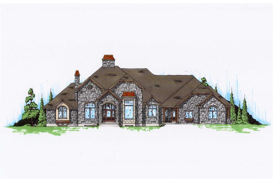 4-Bedroom, 4435 Sq Ft European Home Plan - 135-1064 - Main Exterior
