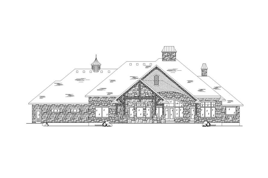 Home Plan Rear Elevation of this 4-Bedroom,4435 Sq Ft Plan -135-1064