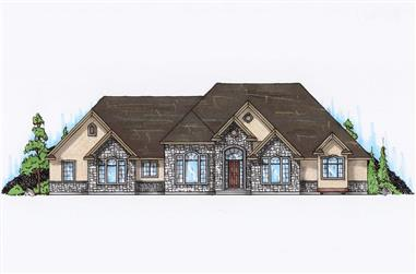 4-Bedroom, 2891 Sq Ft Ranch House Plan - 135-1067 - Front Exterior