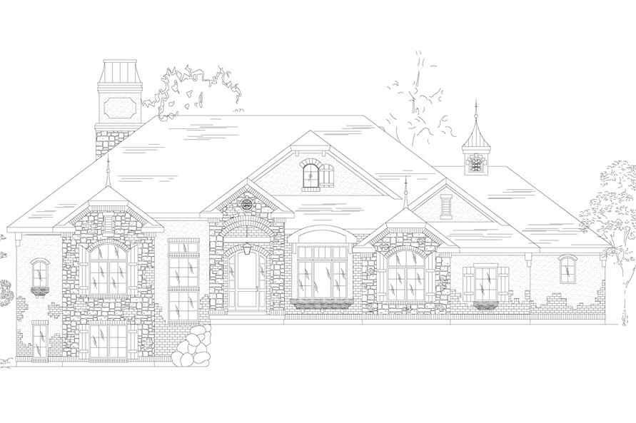 135-1073: Home Plan Front Elevation