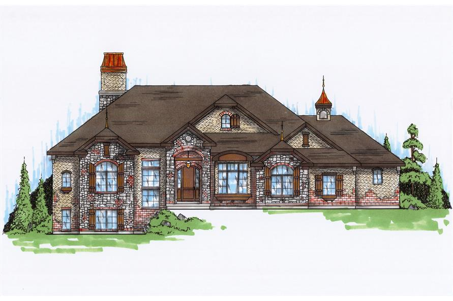 4-Bedroom, 2741 Sq Ft European Home Plan - 135-1073 - Main Exterior