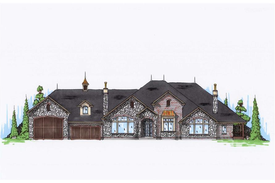 4-Bedroom, 4438 Sq Ft European Home Plan - 135-1074 - Main Exterior