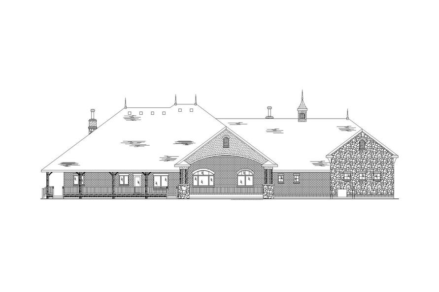 Home Plan Rear Elevation of this 4-Bedroom,4438 Sq Ft Plan -135-1074