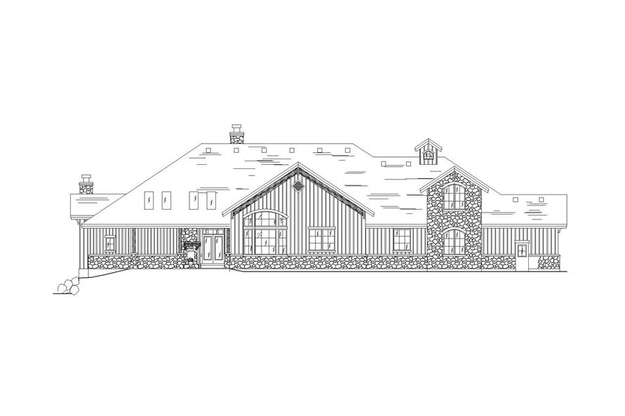 Home Plan Rear Elevation of this 5-Bedroom,3976 Sq Ft Plan -135-1082