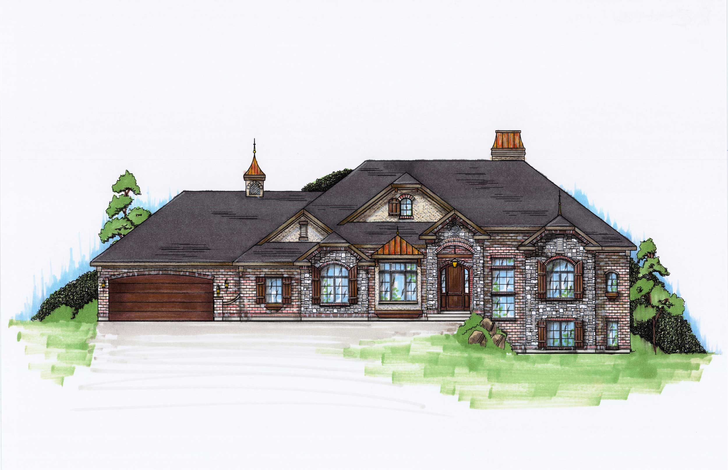 #135 1083 · Color Rendering Of This House Plans