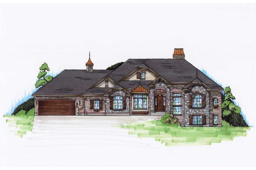 5-Bedroom, 2442 Sq Ft European Home Plan - 135-1083 - Main Exterior