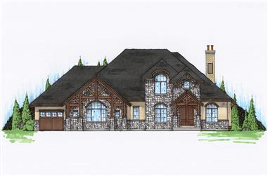 4-Bedroom, 3616 Sq Ft Country House Plan - 135-1084 - Front Exterior