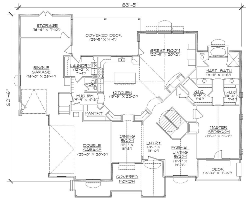 135-1087 house plan main level