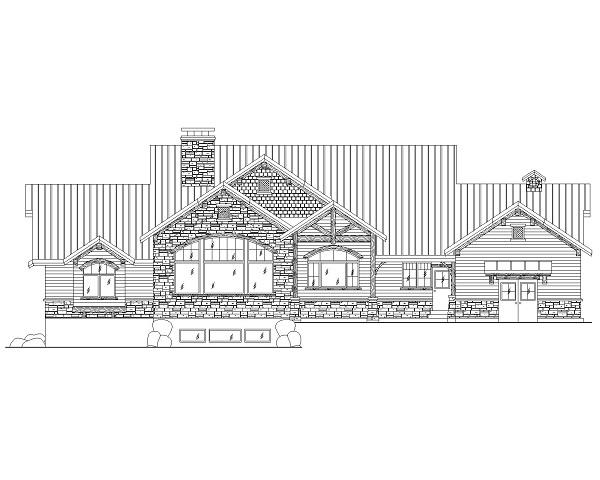 135-1087 house plan rear elevation