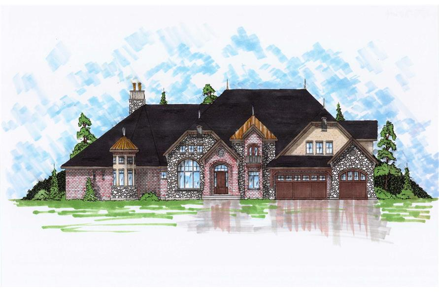 5-Bedroom, 5064 Sq Ft European Home Plan - 135-1091 - Main Exterior