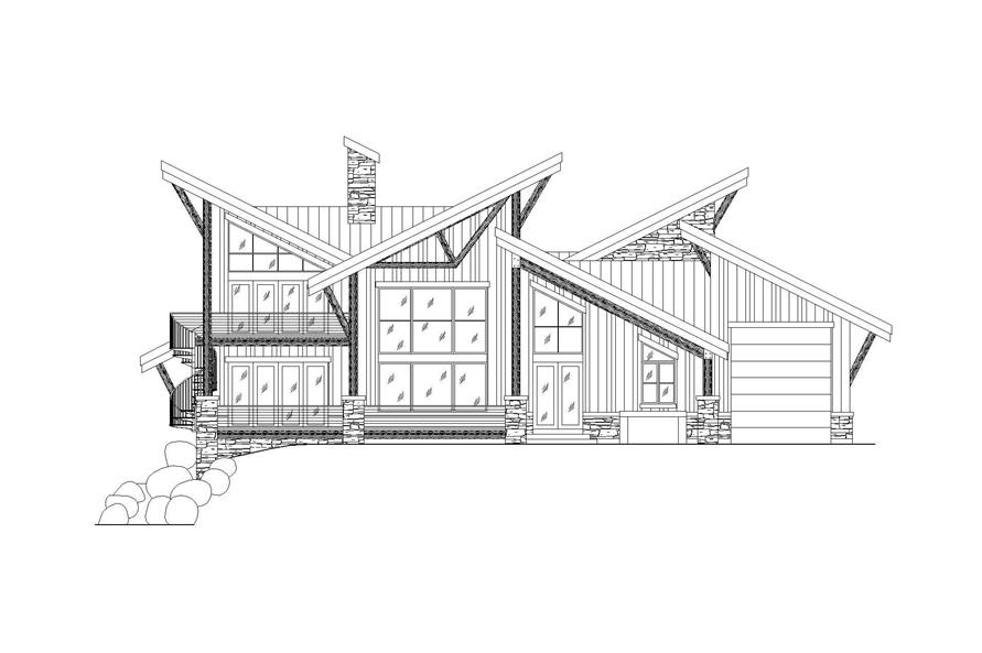 Home Plan Rear Elevation of this 4-Bedroom,3309 Sq Ft Plan -135-1095