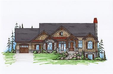 2-4-Bedroom, 2037 Sq Ft Rustic House Plan - 135-1104 - Front Exterior