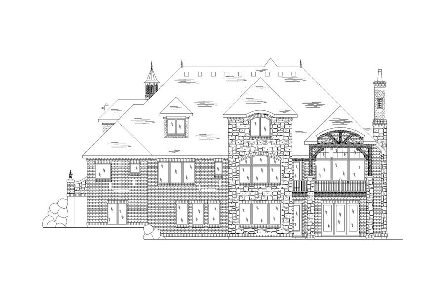 Home Plan Rear Elevation of this 6-Bedroom,4219 Sq Ft Plan -135-1109