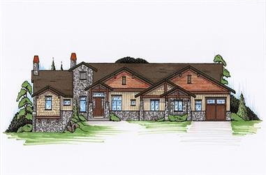 3-Bedroom, 2605 Sq Ft Rustic House Plan - 135-1114 - Front Exterior