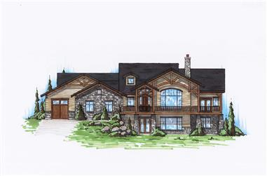 4-Bedroom, 2334 Sq Ft Rustic House Plan - 135-1115 - Front Exterior