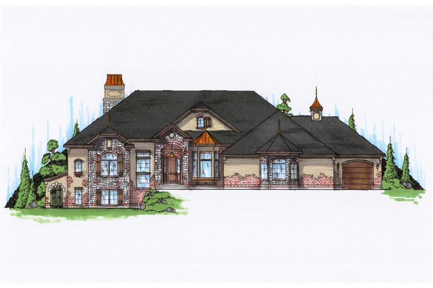 4-Bedroom, 2729 Sq Ft European House Plan - 135-1116 - Front Exterior