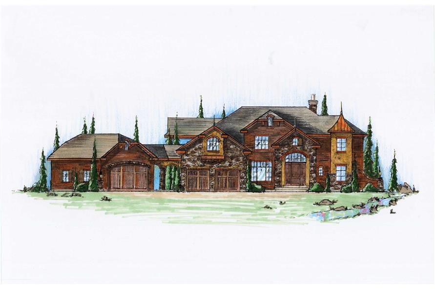 6-Bedroom, 4509 Sq Ft European House Plan - 135-1117 - Front Exterior