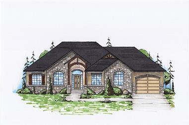3-Bedroom, 1695 Sq Ft Rustic House Plan - 135-1121 - Front Exterior