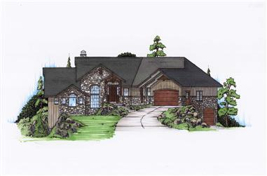 2-4-Bedroom, 2282 Sq Ft Rustic House Plan - 135-1122 - Front Exterior