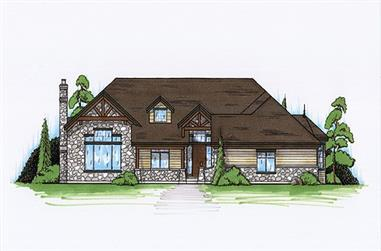 2-Bedroom, 2220 Sq Ft Rustic House Plan - 135-1123 - Front Exterior