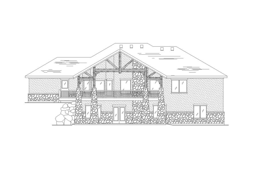 Home Plan Rear Elevation of this 6-Bedroom,2091 Sq Ft Plan -135-1129