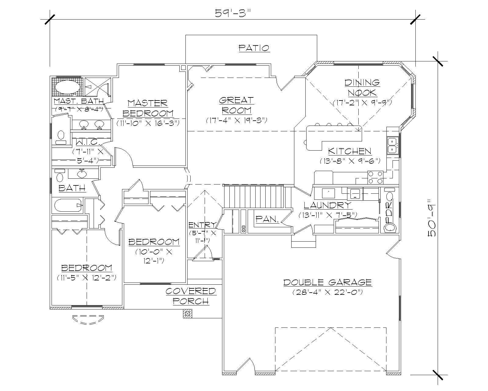 Ranch House Plans Home Design Vh R1621