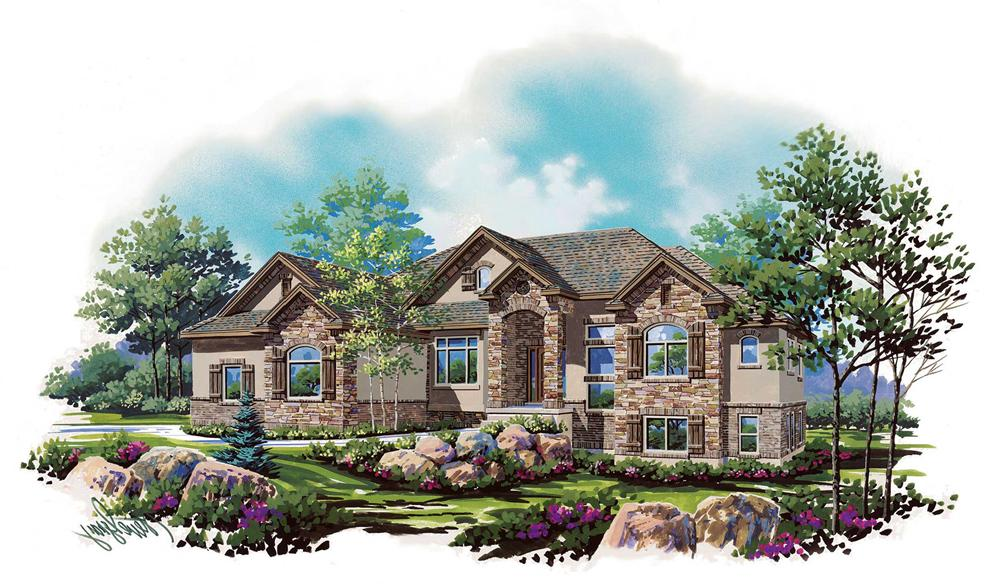 Front elevation of European home (ThePlanCollection: House Plan #135-1134)