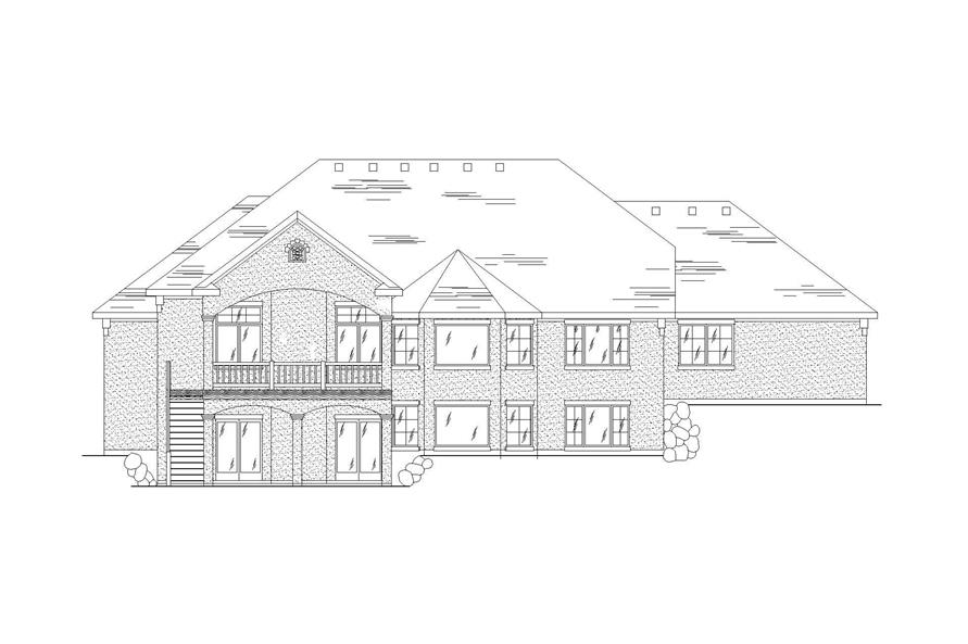 Home Plan Rear Elevation of this 5-Bedroom,2407 Sq Ft Plan -135-1134