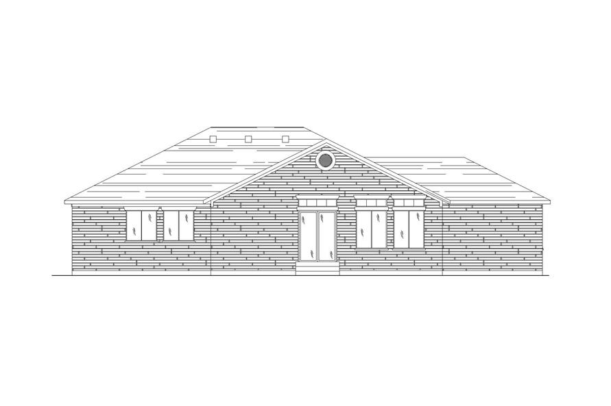 Home Plan Rear Elevation of this 4-Bedroom,1425 Sq Ft Plan -135-1140