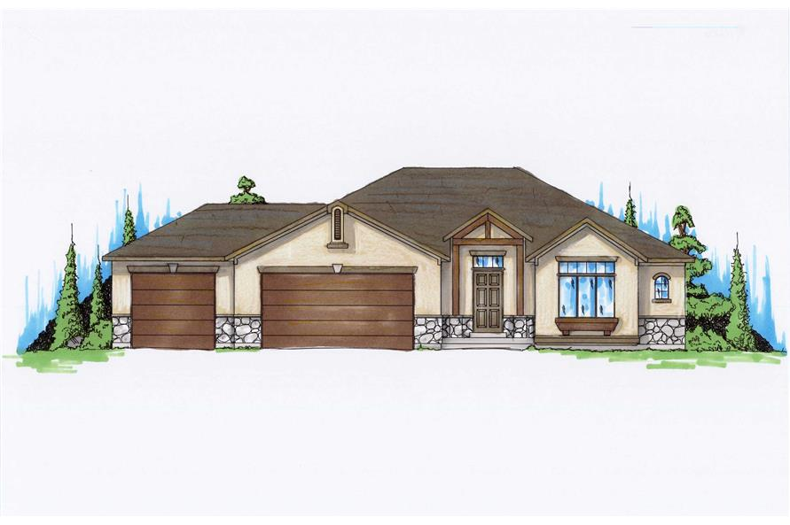 4-Bedroom, 1425 Sq Ft Country House Plan - 135-1140 - Front Exterior