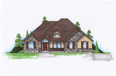 5-Bedroom, 2061 Sq Ft Country House Plan - 135-1147 - Front Exterior