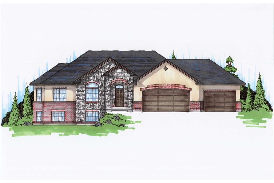 5-Bedroom, 1905 Sq Ft Ranch House Plan - 135-1163 - Front Exterior