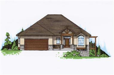 1-Bedroom, 1867 Sq Ft Country House Plan - 135-1164 - Front Exterior