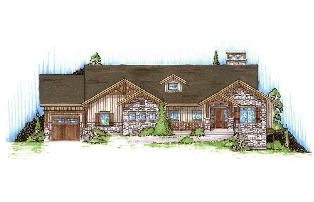 Front elevation of Rustic home (ThePlanCollection: House Plan #135-1169)