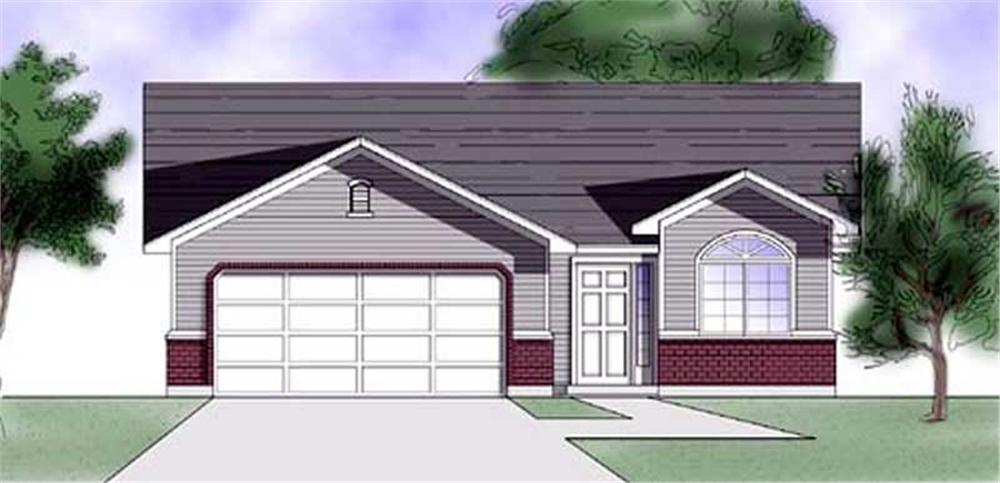 Front elevation of Ranch home (ThePlanCollection: House Plan #135-1186)