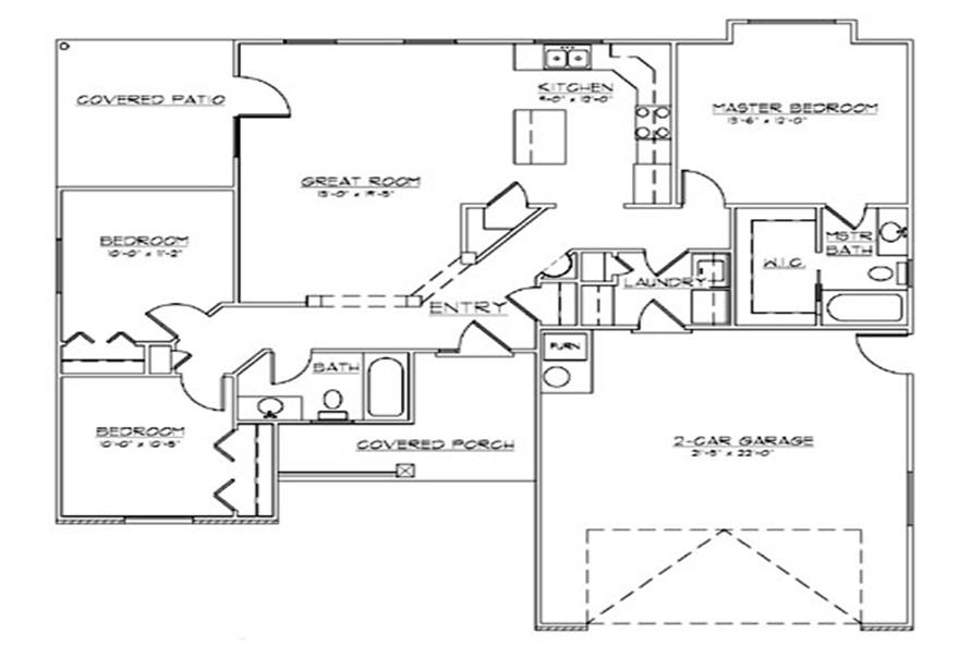 Home Plan Rendering of this 3-Bedroom,1245 Sq Ft Plan -1245