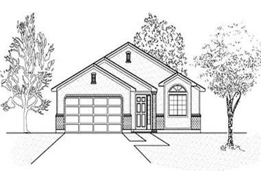 3-Bedroom, 1355 Sq Ft Ranch Home Plan - 135-1190 - Main Exterior