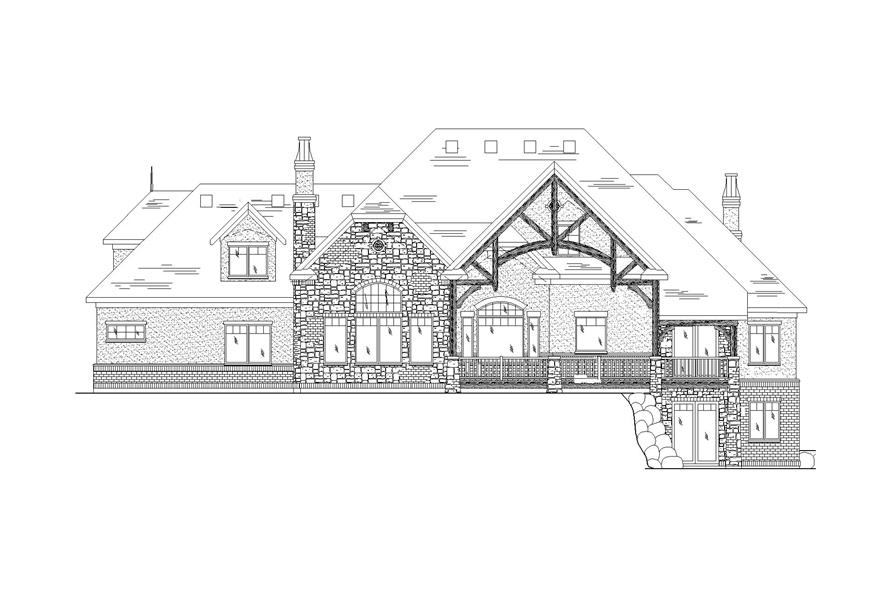 Home Plan Rear Elevation of this 5-Bedroom,4793 Sq Ft Plan -135-1198