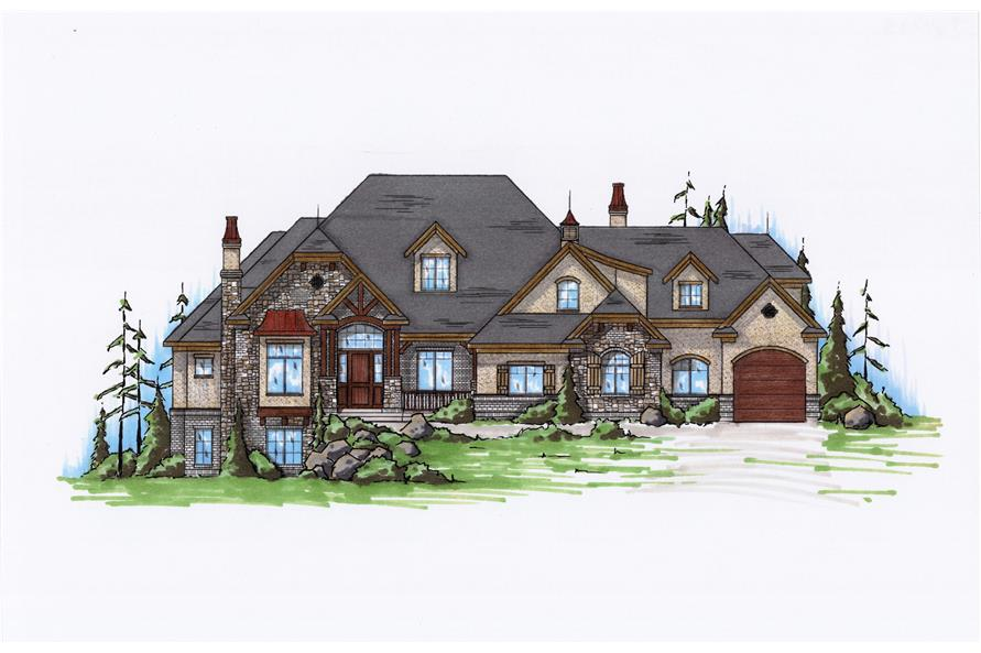 5-Bedroom, 4793 Sq Ft European Home Plan - 135-1198 - Main Exterior