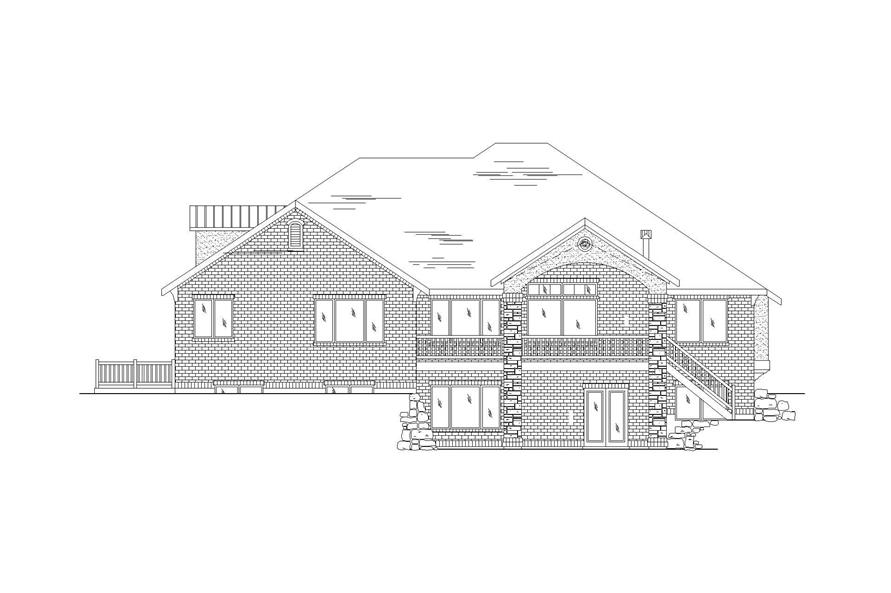 Home Plan Rear Elevation of this 7-Bedroom,3280 Sq Ft Plan -135-1199