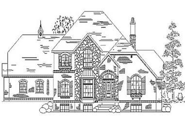 4-Bedroom, 3172 Sq Ft European House Plan - 135-1202 - Front Exterior
