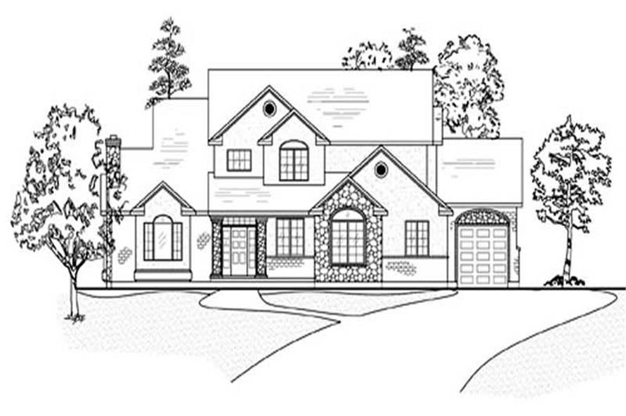 Home Plan Front Elevation of this 6-Bedroom,3607 Sq Ft Plan -135-1224