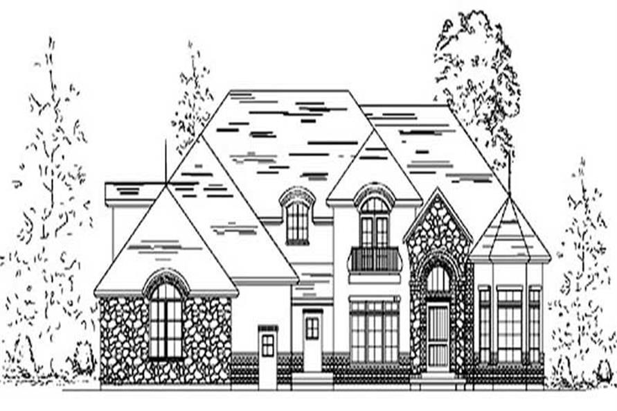 4-Bedroom, 3641 Sq Ft European House Plan - 135-1227 - Front Exterior