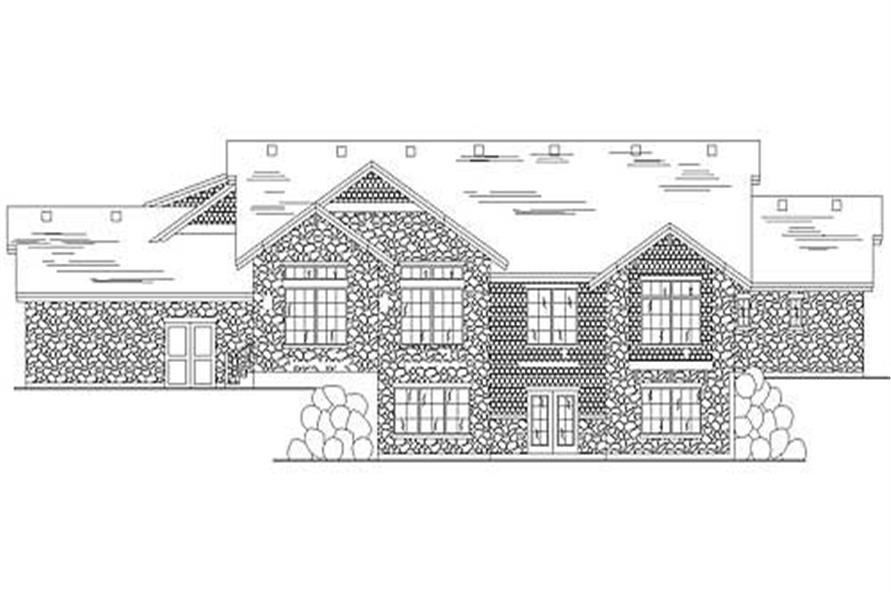 Home Plan Rear Elevation of this 2-Bedroom,3076 Sq Ft Plan -135-1237