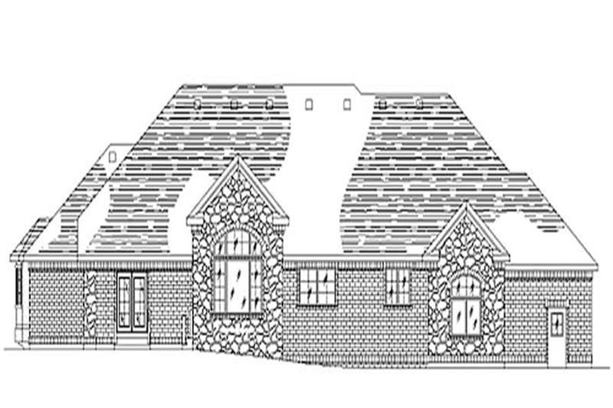 Home Plan Rear Elevation of this 4-Bedroom,2546 Sq Ft Plan -135-1245
